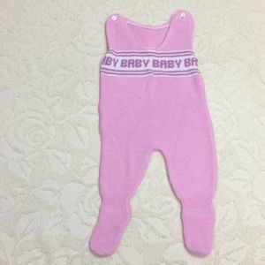 Vintage Knit Baby footed overalls